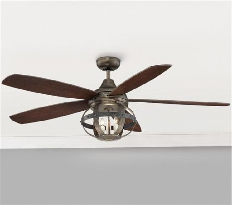 "Outdoor Ceiling Fans With Cage In Current Lighting & Ceiling Fans: 52"" Indoor/outdoor Rivet Globe Cage For (Gallery 5 of 15)"