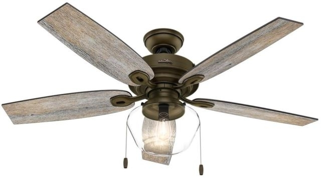 Outdoor Ceiling Fans With Covers Intended For Famous Hunter Ceiling Fan Led Light Indoor Outdoor Home Noble Bronze Crown (Gallery 14 of 15)