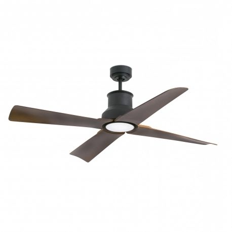 Outdoor Ceiling Fans With Dc Motors With Most Recent Outdoor Dc Motor Ceiling Fan Winche Black With Led Lightfaro (View 3 of 15)