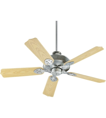 Outdoor Ceiling Fans With Galvanized Blades Within Well Liked Quorum 137525 9 Hudson 52 Inch Galvanized With Medium Oak Blades (View 14 of 15)