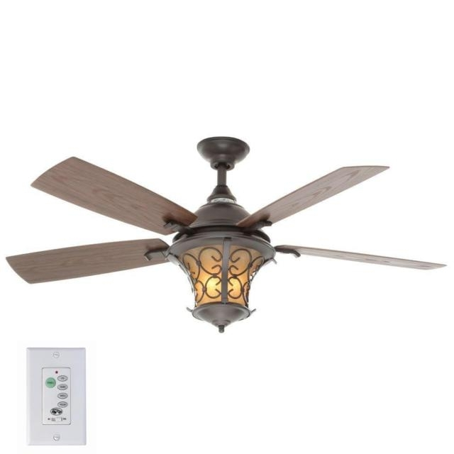 Outdoor Ceiling Fans With Lantern Light Intended For Latest Natural Iron Ceiling Fan Hampton Bay Indoor Outdoor Light Wall (View 10 of 15)