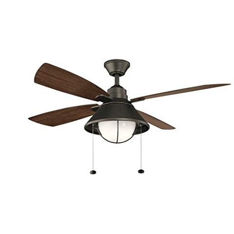 "Outdoor Ceiling Fans With Led Lights Pertaining To Widely Used Kichler 310181 54"" 4 Blade Indoor / Outdoor Ceiling Fan With Led (View 11 of 15)"