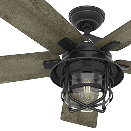 "Outdoor Ceiling Fans With Lights And Remote Control Within Well Known Amazon: Hunter Fan 54"" Weathered Zinc Outdoor Ceiling Fan With A (View 12 of 15)"