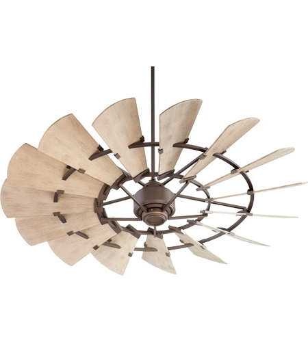 Outdoor Windmill Ceiling Fans With Light Regarding Favorite Quorum 196015 86 Windmill 60 Inch Oiled Bronze With Weathered Oak (View 10 of 15)