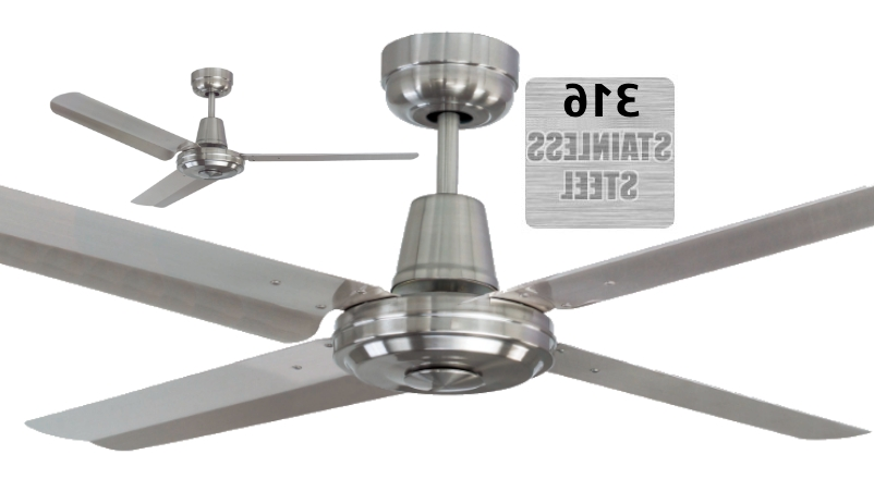 Popular Coastal Outdoor Ceiling Fans Intended For Mercator Swift 316 Marine Grade Stainless Steel Coastal Outdoor (View 14 of 15)