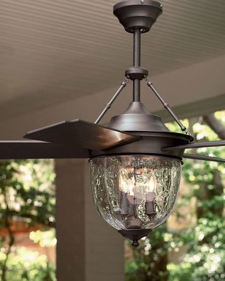 Popular Dark Aged Bronze Outdoor Ceiling Fan With Lantern Inside Outdoor Ceiling Fans With Led Globe (View 14 of 15)