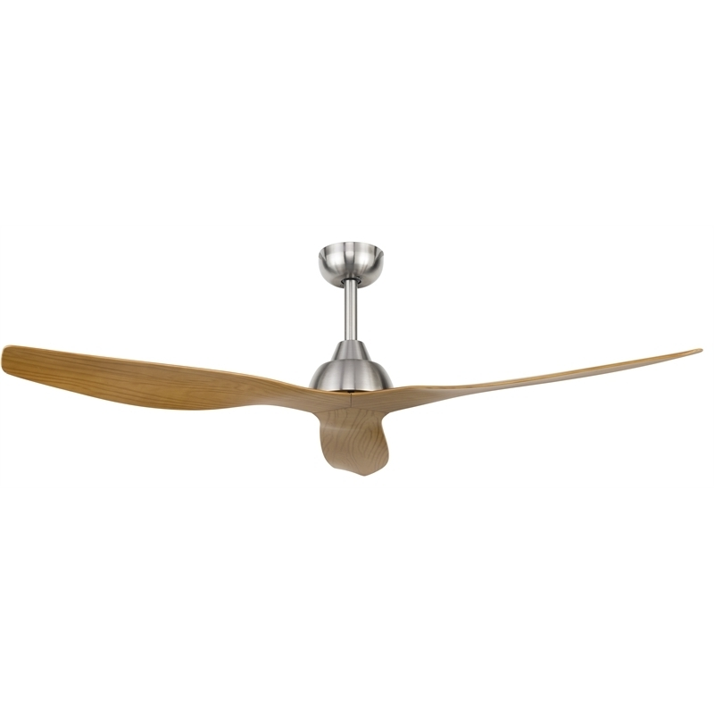 Popular Outdoor Ceiling Fans At Bunnings Intended For Brilliant Lighting 132Cm Satin Nickel Maui Ceiling Fan (View 2 of 15)