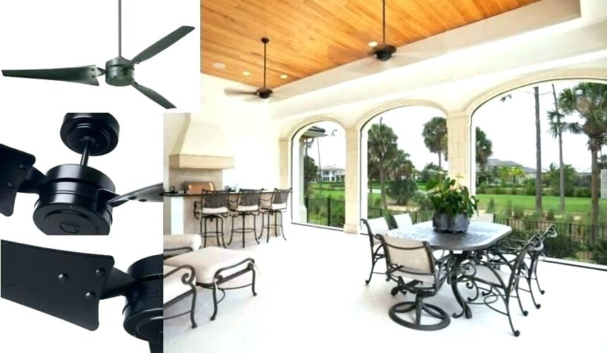 Popular Outdoor Ceiling Fans With Cord Regarding Black Outdoor Ceiling Fan – Dealchamp (View 13 of 15)