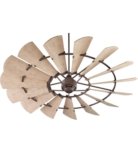 Quorum 197215 86 Windmill 72 Inch Oiled Bronze With Weathered Oak With Trendy Outdoor Windmill Ceiling Fans With Light (View 11 of 15)