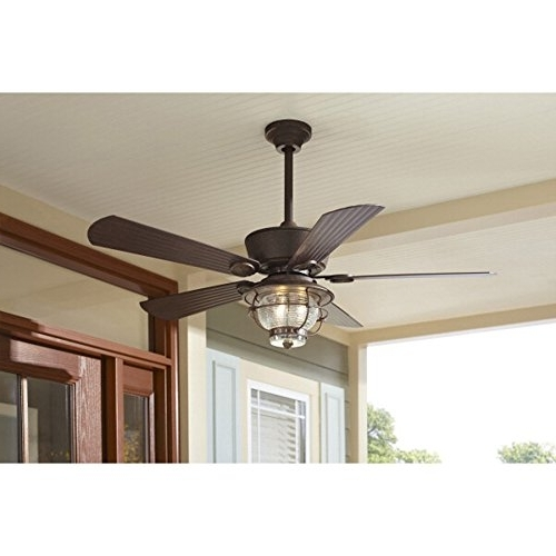 Recent Outdoor Ceiling Fans With Downrod Within Merrimack 52 In Antique Bronze Downrod Mount Indoor/outdoor Ceiling (View 7 of 15)