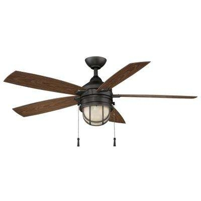 Rustic Outdoor Ceiling Fans Intended For Popular Rustic – Outdoor – Black – Ceiling Fans – Lighting – The Home Depot (View 14 of 15)