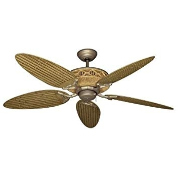"Tiki Tropical Ceiling Fan With 52"" Outdoor Bamboo Style Blades In With Well Liked Bamboo Outdoor Ceiling Fans (View 14 of 15)"