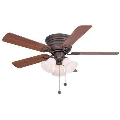 Trendy Flush Mount – Ceiling Fans – Lighting – The Home Depot Within Outdoor Ceiling Fan With Light Under $ (View 8 of 15)