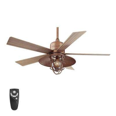 Trendy Rustic – Tan – Outdoor – Ceiling Fans – Lighting – The Home Depot Within Rustic Outdoor Ceiling Fans With Lights (View 10 of 15)