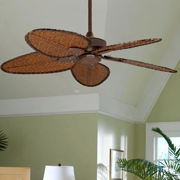 Tropical Ceiling Fans: Overhead Palm Leaf & Bamboo Blade Fans Inside Most Popular Outdoor Ceiling Fans With Bamboo Blades (View 13 of 15)