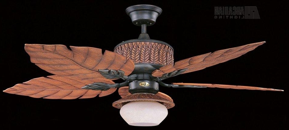 Tropical Outdoor Ceiling Fans Inside 2017 Remarkable Tropical Ceiling Fans With Lights At Home Decor Lighting (View 13 of 15)