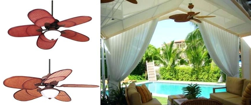 Tropical Outdoor Ceiling Fans With Lights Inside Best And Newest Tropical Outdoor Ceiling Fans With Lights Rattan Outdoor Tropical (View 10 of 15)