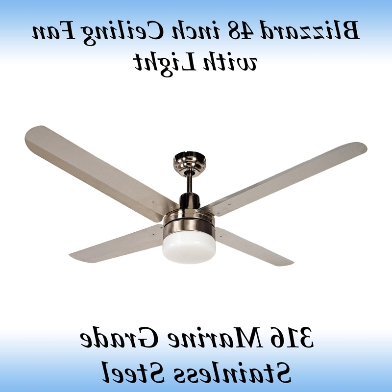 Well Known Blizzard 48 Inch Marine Grade Stainless Steel Outdoor Ceiling Fan Intended For 48 Inch Outdoor Ceiling Fans With Light (View 13 of 15)