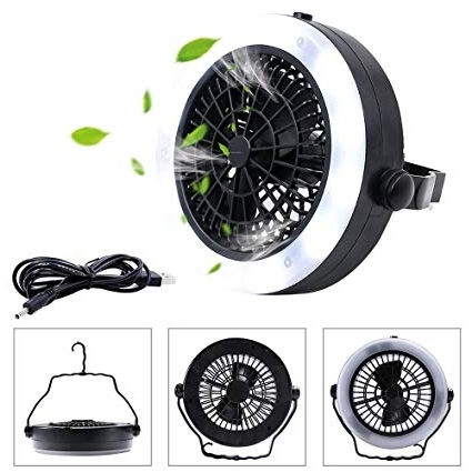 Well Liked Amazon : Abdqpc Led Camping Lantern Fan, Usb Powered Tent Light In Hurricane Outdoor Ceiling Fans (View 12 of 15)