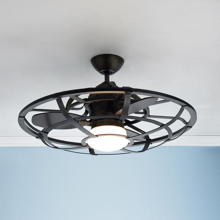 Well Liked Ceiling: Amazing Caged Ceiling Fans Flush Mount Ceiling Fan With Intended For Enclosed Outdoor Ceiling Fans (View 15 of 15)