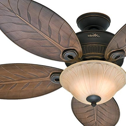"""Well Liked Hunter Fan 54"""" Outdoor Ceiling Fan With Toffee Glass Light Kit, 5 Inside Leaf Blades Outdoor Ceiling Fans (View 15 of 15)"""
