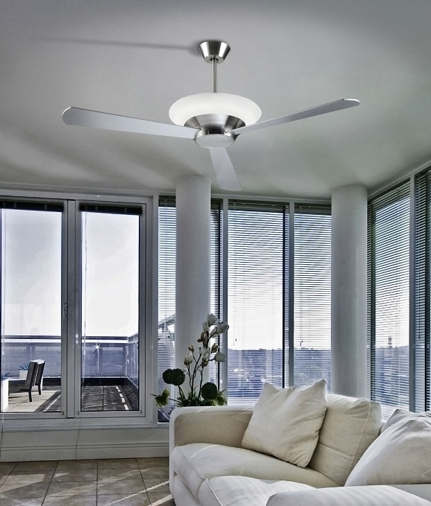Well Liked Outdoor Ceiling Fans With Uplights Throughout Modern Remote Controlled Ceiling Fan With Uplight In Silver Dark (View 14 of 15)