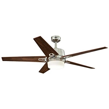 Westinghouse 7204600 Transitional Zephyr 56 Inch Brushed Nickel With Regard To Most Recent Outdoor Ceiling Fans With Dimmable Light (View 15 of 15)