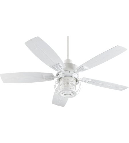 White Outdoor Ceiling Fans Pertaining To Most Up To Date Quorum 13525 8 Galveston 52 Inch Studio White Outdoor Ceiling Fan (View 14 of 15)