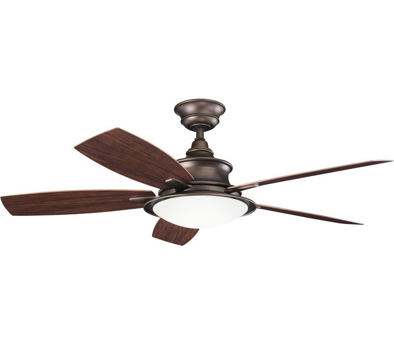 "Widely Used Outdoor Ceiling Fans For Canopy With Regard To Kichler 310104Wcp Cameron 52"" Weathered Copper Ceiling Fan (View 3 of 15)"