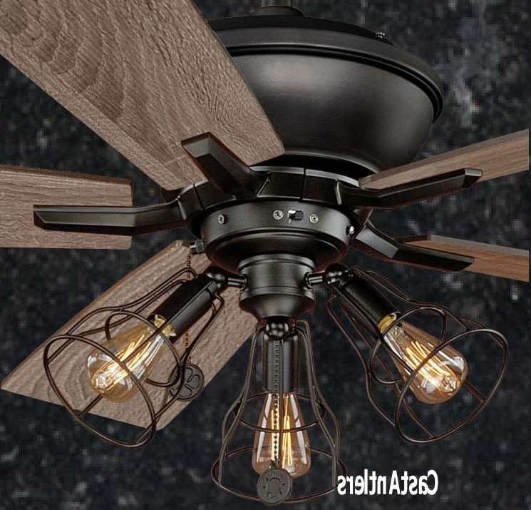 "Widely Used Outdoor Ceiling Fans With Guard Within 52"" Edison Rustic Ceiling Fan W/ Industrial Cage Light (View 15 of 15)"
