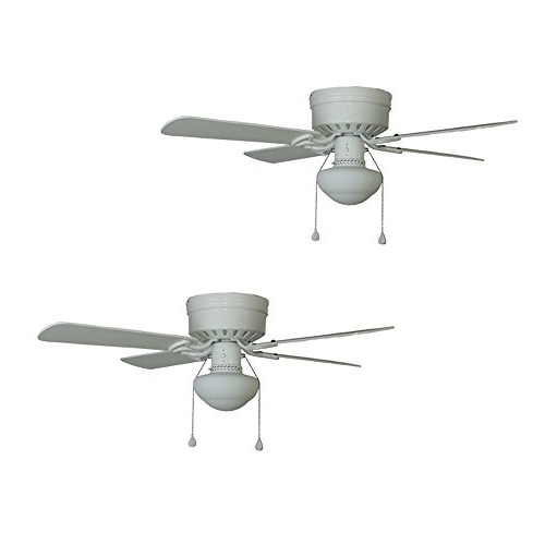 Widely Used Set Of 2 Harbor Breeze Armitage 42 In White Flush Mount Ceiling Fan Regarding Harbor Breeze Outdoor Ceiling Fans (View 12 of 15)