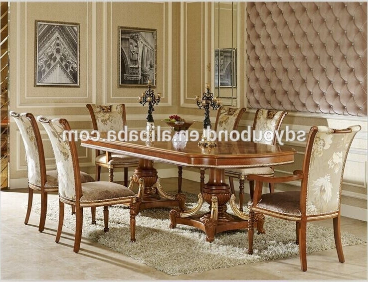 0062 Baroque Italian Design Wooden Long Table And Chairs,antique 8 In 2017 Eight Seater Dining Tables And Chairs (View 1 of 20)