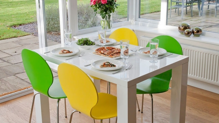 1. Small White Gloss Dining Table And White Dining Chairs Within Well Liked Colourful Dining Tables And Chairs (Gallery 11 of 20)