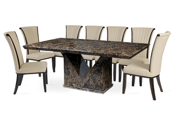 10 Seat Dining Tables And Chairs Intended For Recent Mocha 220Cm Marble Effect Dining Table With Alpine Chairs (View 2 of 20)