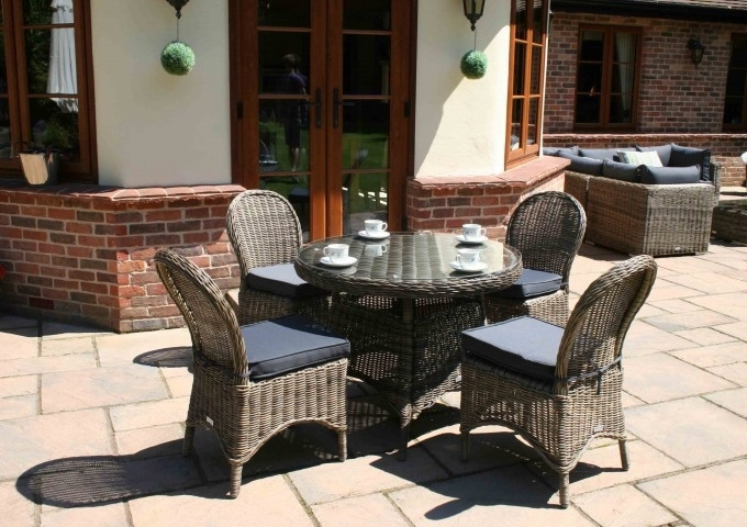 100Cm Mayfair Round Dining Table With 4 Dining Chairs – Garden Within 2018 Mayfair Dining Tables (View 1 of 20)