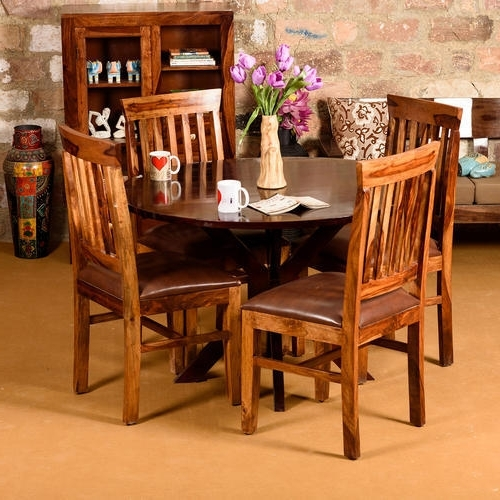 105 Standard Induscraft Between The Lines Sheesham Dining Table, Rs With Fashionable Sheesham Dining Tables (View 1 of 20)