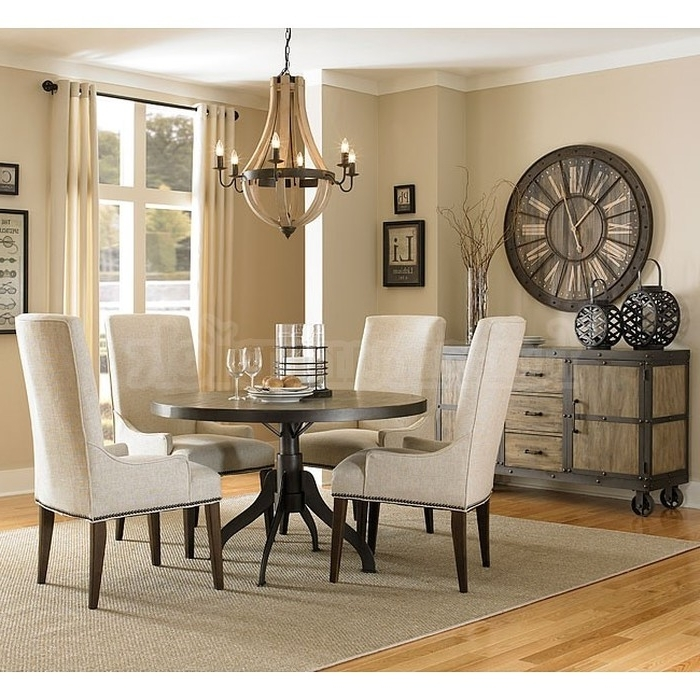 12. Jaxon 5 Piece Round Dining Set W Upholstered Chairs 360 With Newest Jaxon 5 Piece Round Dining Sets With Upholstered Chairs (Gallery 5 of 20)