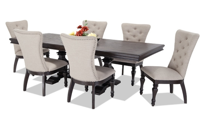 12. Jaxon 5 Piece Round Dining Set W Upholstered Chairs 360 With Regard To Most Up To Date Jaxon 7 Piece Rectangle Dining Sets With Upholstered Chairs (Gallery 9 of 20)