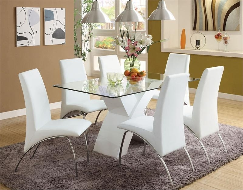 13. Limitless Home Round Dining Set With 4 White Chairs Amazon Co Uk In Latest Chrome Dining Room Chairs (Gallery 14 of 20)