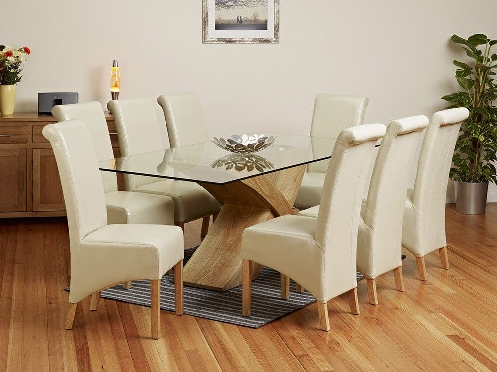 2 Metre Glass Top Dining Table Set – 1Home – Glass Dining Table For Recent Glass Top Oak Dining Tables (View 1 of 20)