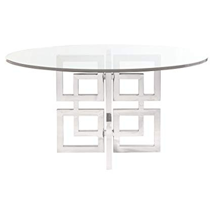 2017 Amazon – Kathy Kuo Home Mercer Round Glass Stainless Steel With Regard To Glass And Stainless Steel Dining Tables (View 1 of 20)
