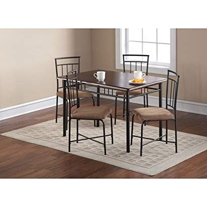 2017 Amazon: Mainstays 5 Piece Wood And Metal Dining Set, Espresso Within Harper 5 Piece Counter Sets (View 10 of 20)