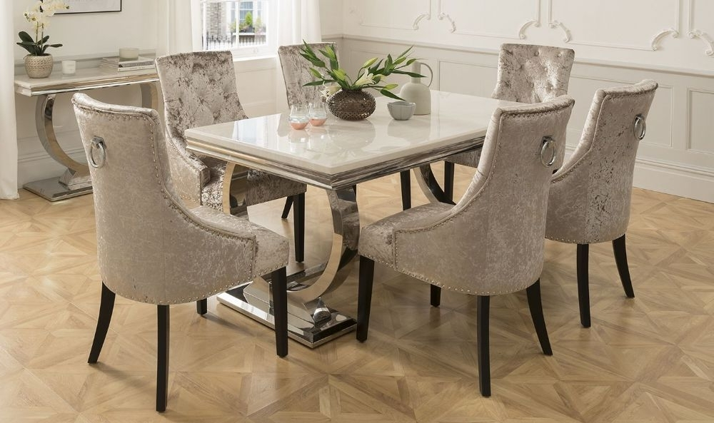 2017 Arianna 180Cms Cream Marble Dining Table & Six Chairs With Regard To Dining Tables And Six Chairs (Gallery 3 of 20)