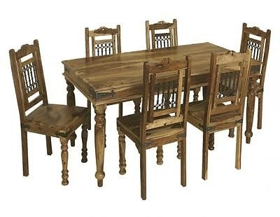 2017 Bali 175Cm Dining Table And Set Of 6 Chairs Indian Wood Furniture Inside Wood Dining Tables And 6 Chairs (Gallery 6 of 20)