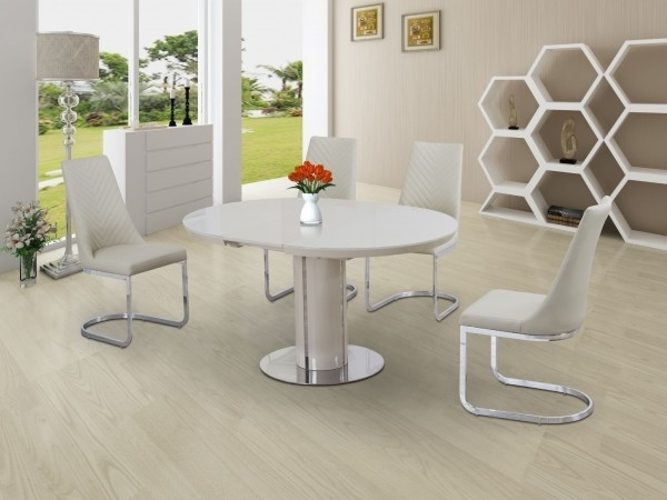 2017 Buy Annular Cream High Gloss Extending Dining Table Regarding Round High Gloss Dining Tables (View 12 of 20)