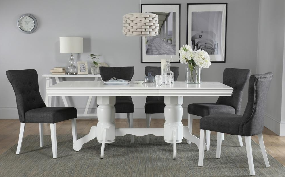 2017 Chatsworth White Extending Dining Table With 6 Bewley Slate Chairs With Regard To White Dining Tables With 6 Chairs (View 3 of 20)