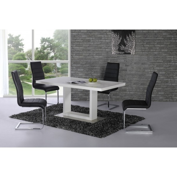 2017 Cheap Space High Gloss Contemporary Dining Table For Sale With Regard To Alcora Dining Chairs (View 1 of 20)