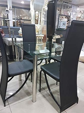 2017 Clear Glass Dining Tables And Chairs With Modernique® Clear Glass Dining Table & Chairs Set, Faux Leather (View 14 of 20)