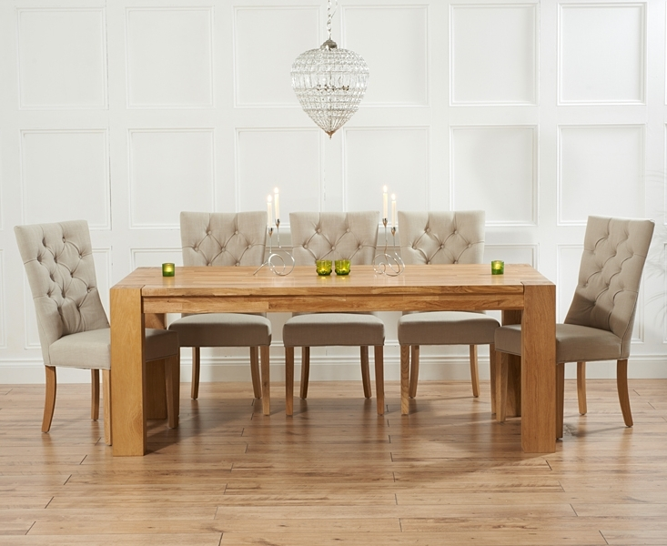 2017 Dining Tables And Fabric Chairs Throughout Madrid 240Cm Solid Oak Dining Table With Anais Fabric Chairs (View 2 of 20)