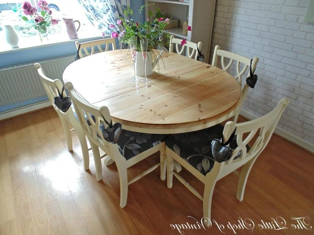 2017 Ducal Solid Pine Extendable Kitchen Dining Table And 6 Chairs Shabby Within Shabby Chic Cream Dining Tables And Chairs (View 1 of 20)